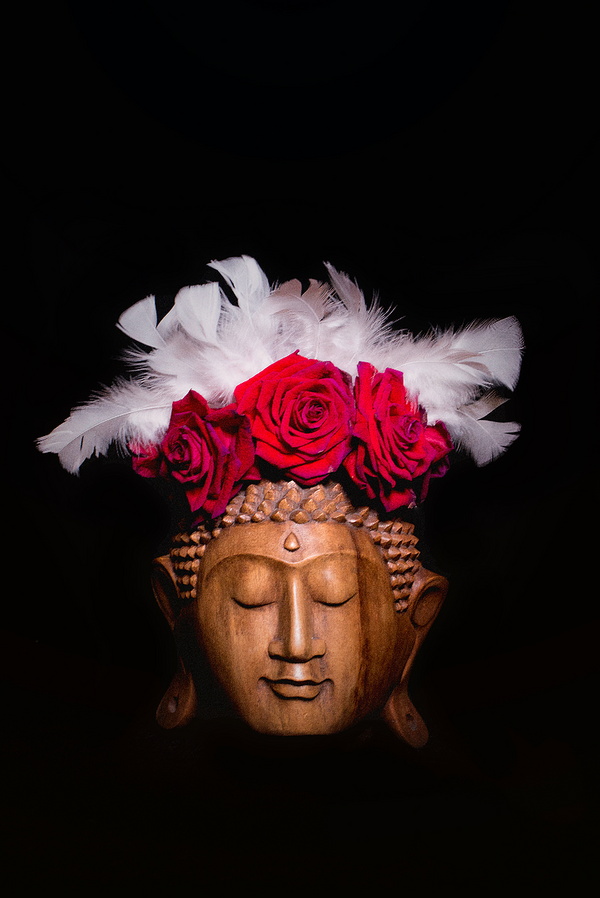 Buddha with red roses crown Photography - Limited Series - Zayra Mo