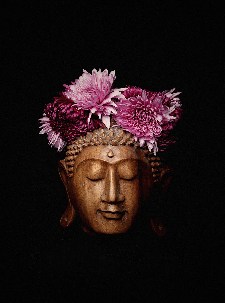 Buddha with magenta flowers crown Photography - Limited Series - Zayra Mo