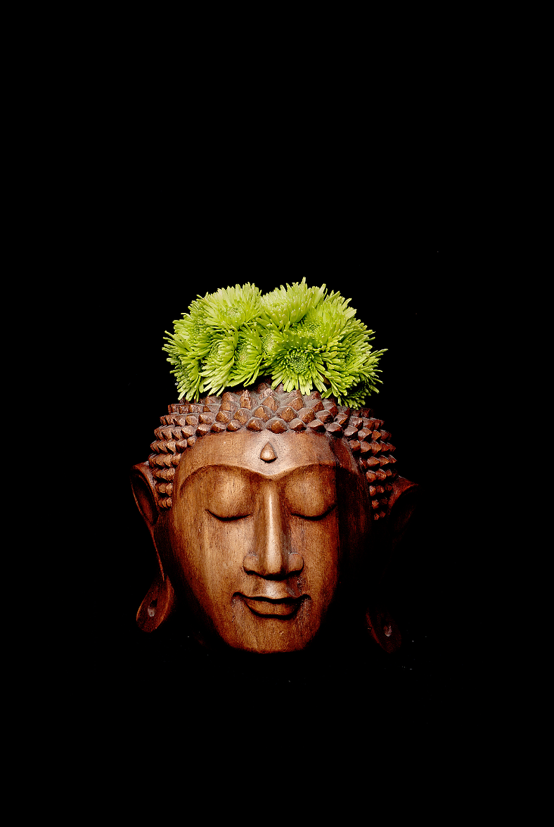 Buddha with green flowers crown Photography - Limited Series - Zayra Mo