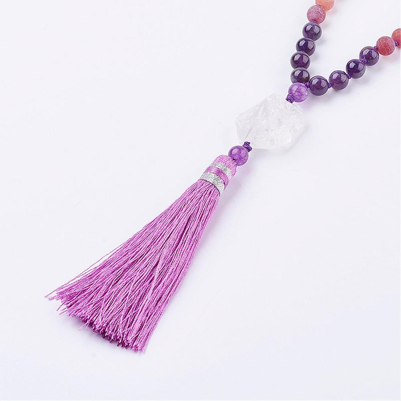 Sacred Mala - Frosted Natural Weathered Agate and Amethyst Necklace, with Nylon Tassle Pendants - Zayra Mo