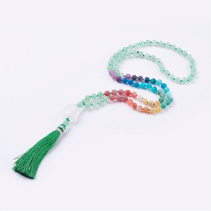 Sacred Mala - Frosted Natural Weathered Agate and Green Aventurine Necklace, with Nylon Tassle Pendants - Zayra Mo