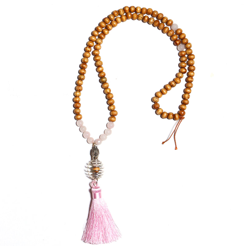 Pick Your Gemstone - Sacred Mala Bead Necklace Wood And Natural Gemstone With Buddha Pendant And Tassel - Zayra Mo