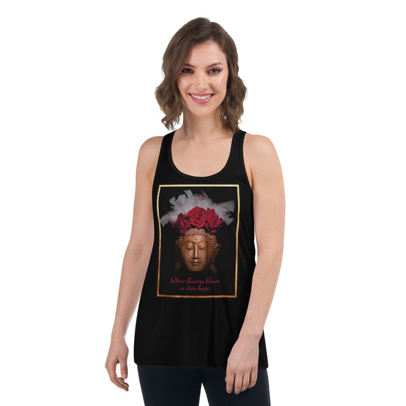 Women's Buddha with Red Roses Flower Crown Flowy Racerback Tank - Zayra Mo