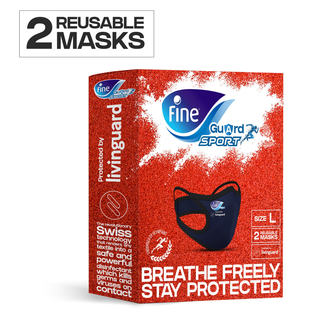 2 x Fine Guard Sport Face Masks With Livinguard Technology, Infection Prevention