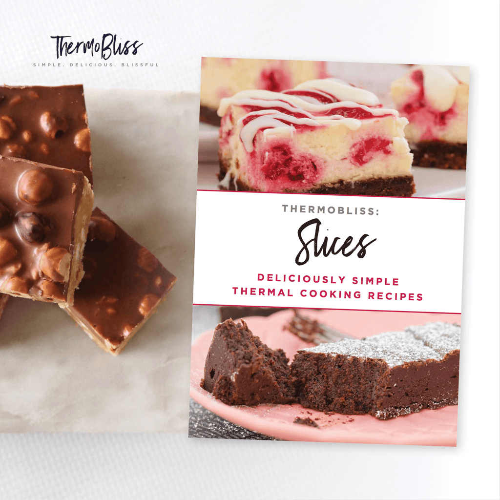 A Slices Recipe Book next to pieces of a chocolate slice