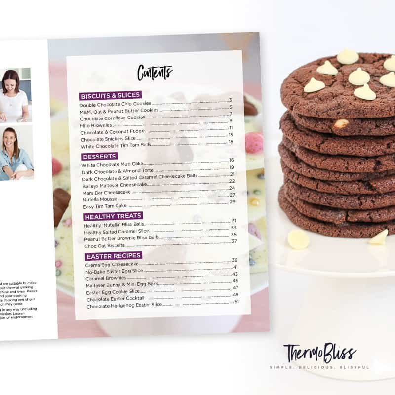 The Thermomix Chocolate Cookbook is filled with 25 delicious biscuits, slices, desserts, healthy treats and Easter recipes! RRP: $16.95