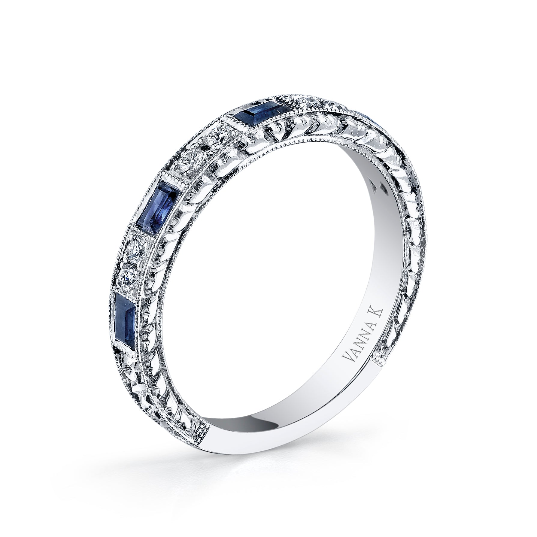 Hand Engraved Perfect Profile Diamond Ring Style 18BND00631S