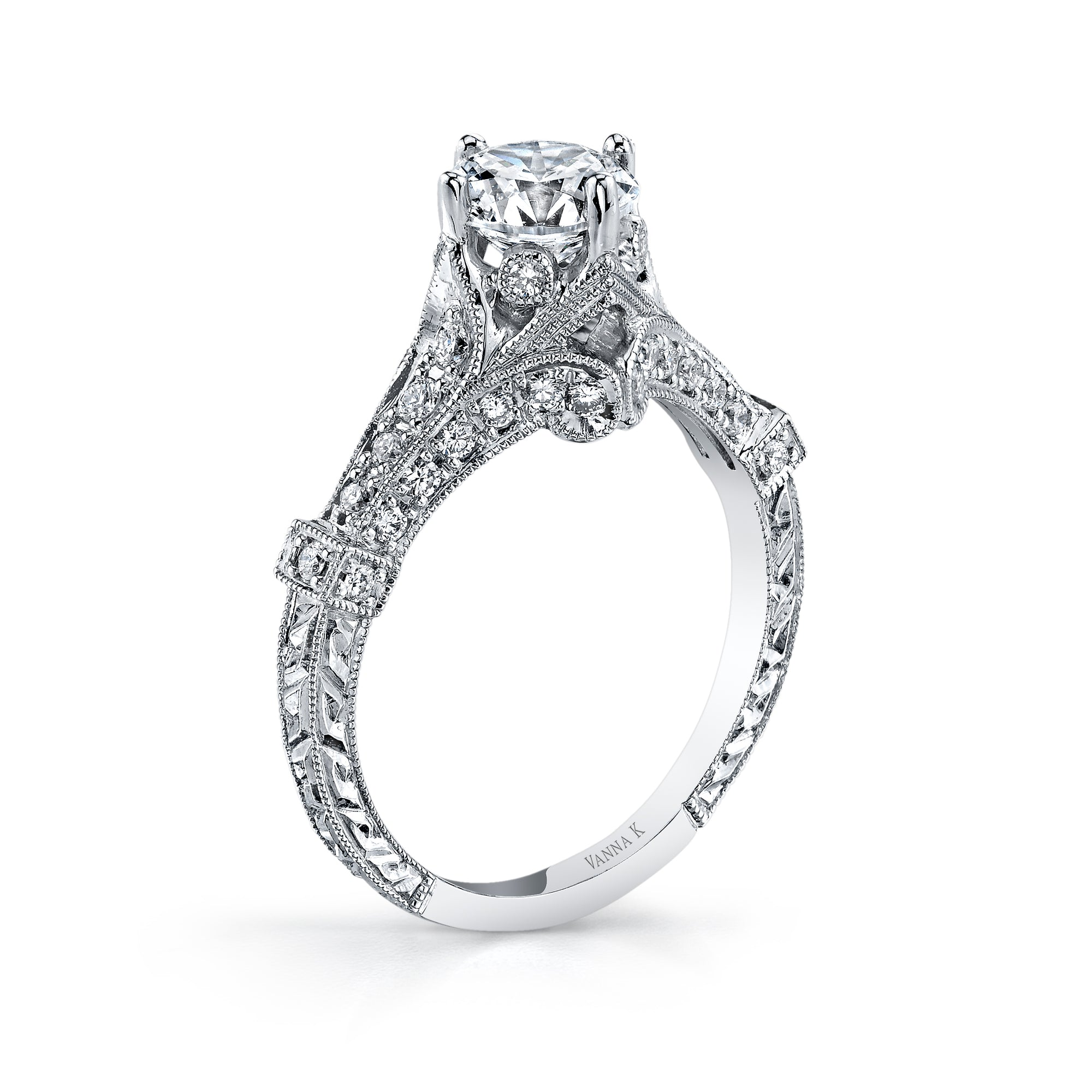 Hand Engraved Perfect Profile Diamond Ring Style 18RGL00398DCZ
