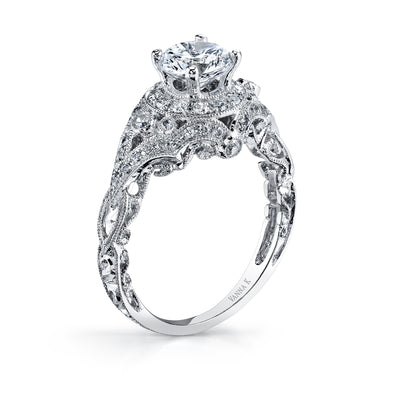 Hand Engraved Perfect Profile Diamond Ring Style 18RGL00512DCZ