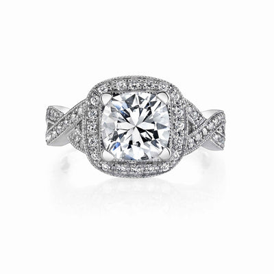 Vintage Inspired Diamond Pave Set Solea Ring Style 18RGL821DCZ