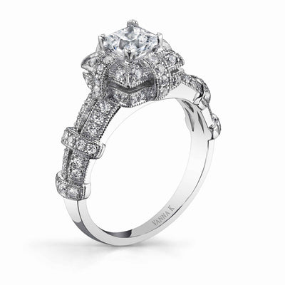 Vintage Inspired Diamond Pave Set Solea Ring Style 18RGL835DCZ