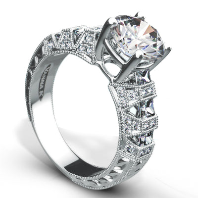 Hand Engraved Perfect Profile Diamond Ring Style 18RO206DCZ