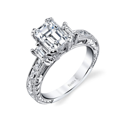 Hand Engraved Perfect Profile Diamond Ring Style 18RGL00631DCZ