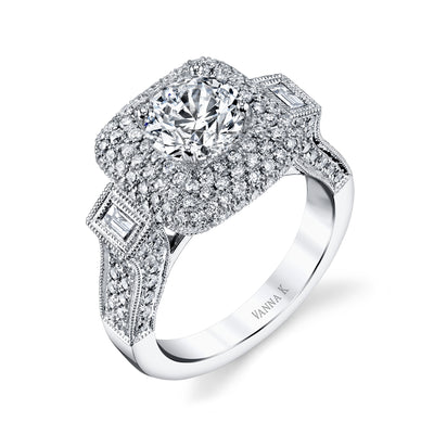 Vintage Inspired Diamond Pave Set Solea Ring Style 18RO5846DCZ