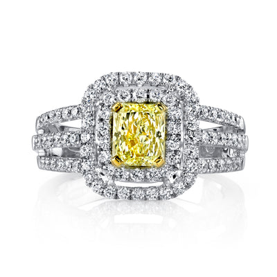Soleamore Unique Rare Yellow Diamond Ring Style 18RGL690DY