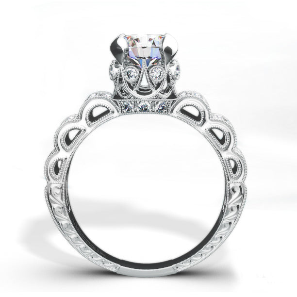 18RGL002741DCZ Unique Diamond Engagement Ring by Jewelry Designer  Vanna Kitsinian 18RGL002741DCZ