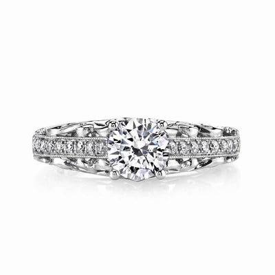 Vintage Inspired Diamond Pave Set Solea Ring Style 18R1004DCZ