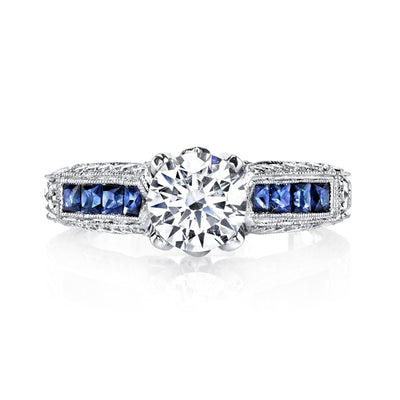 18K White Gold Diamond And Sapphire Engagement Ring