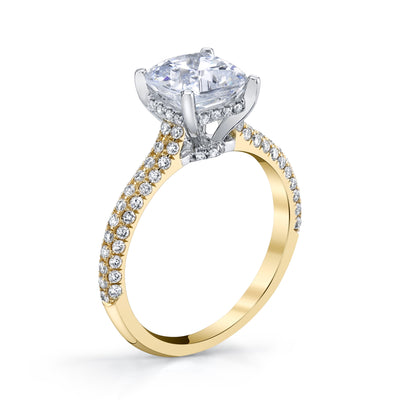 18K YELLOW GOLD PAVE CUSHION ENGAGEMENT RING