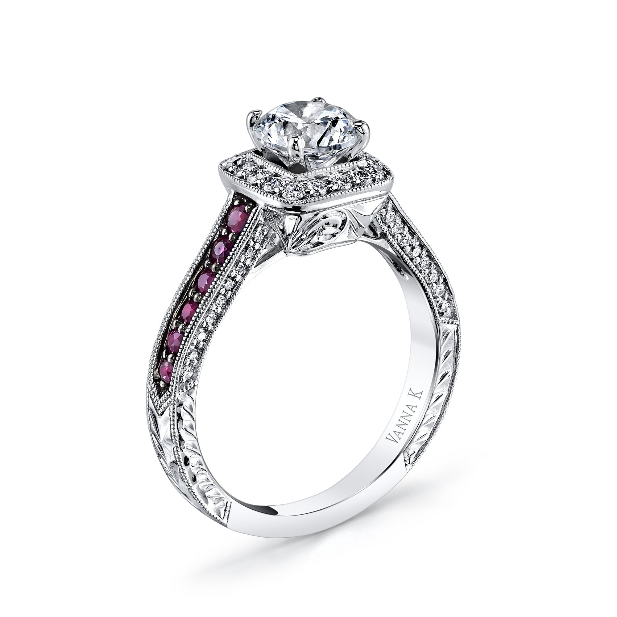 18K White Gold Halo Diamond And Ruby Engagement Ring