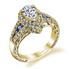 18K YELLOW GOLD HALO DIAMOND AND SAPPHIRE ENGAGEMENT RING