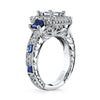 18K White Gold Halo Diamond And Sapphire Engagement Ring