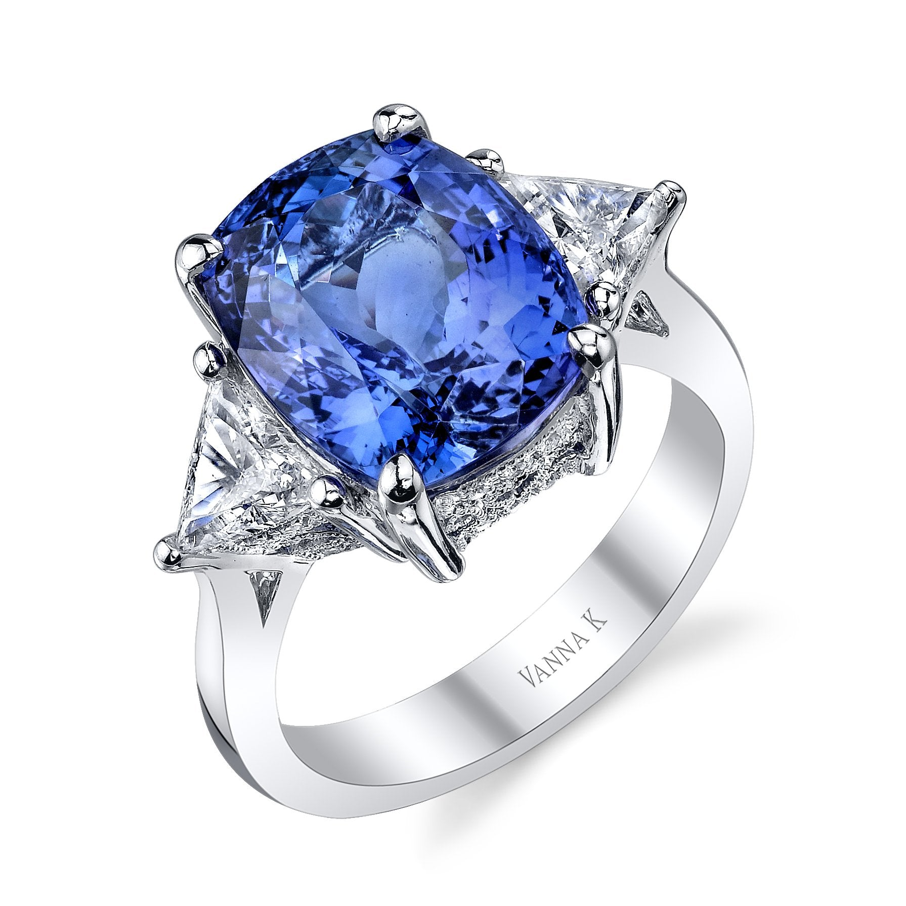 18K WHITE GOLD TANZANITE ENGAGEMENT RING