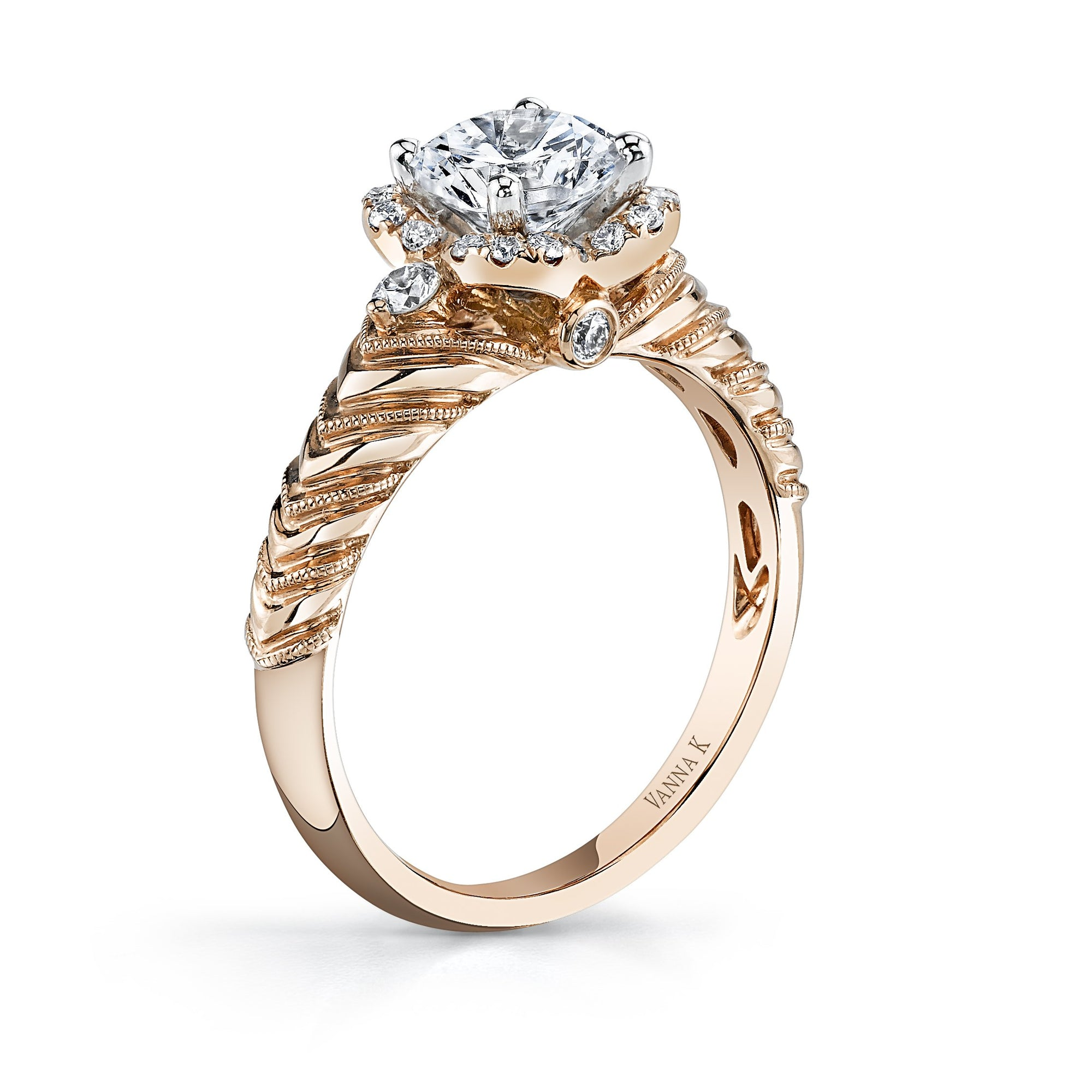 18K Rose Gold Halo Diamond Engagement Ring