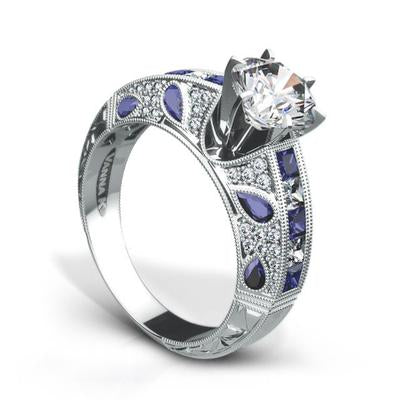 18K White Gold Engagement Ring With Diamonds And Sapphires