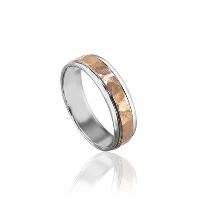 14K PINK/WHITE GOLD HAMMERED 6MM WEDDING BAND SIZE 10