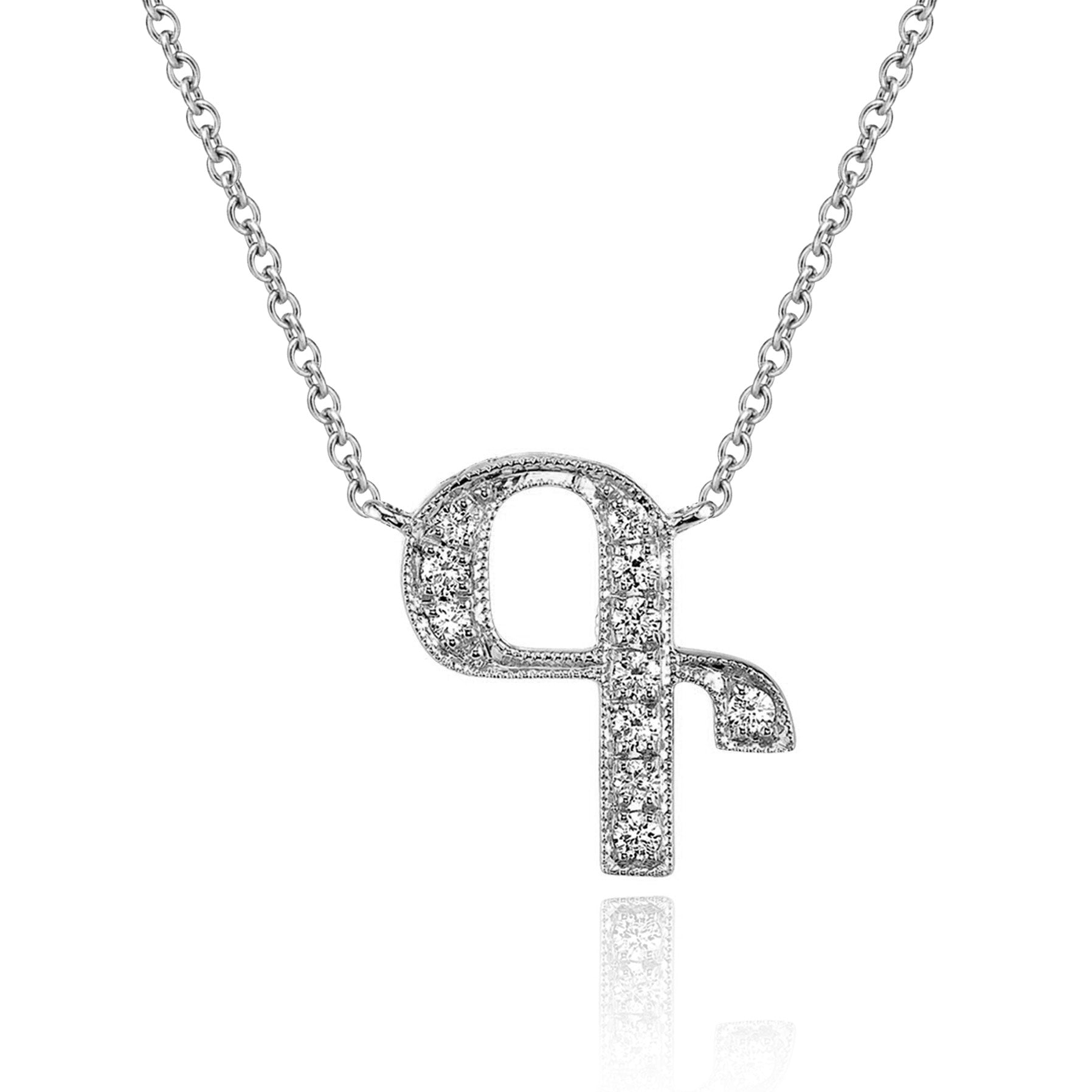 14K WHITE GOLD ARMENIAN INITIAL DIAMOND NECKLACE