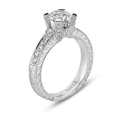 Hand Engraved Perfect Profile Diamond Ring Style 18RO3140DCZ