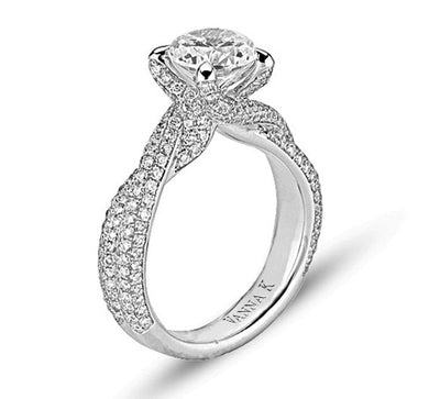Vintage Inspired Diamond Pave Set Solea Ring Style 18RO5251DCZ