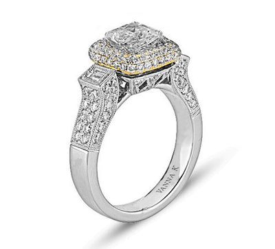 Vintage Inspired Diamond Pave Set Solea Ring Style 18RO5463YWCZ