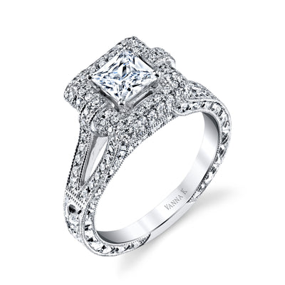 Hand Engraved Perfect Profile Diamond Ring Style 18RGL00201DCZ