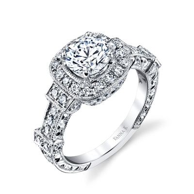 Hand Engraved Perfect Profile Diamond Ring Style 18RGL00203DCZ