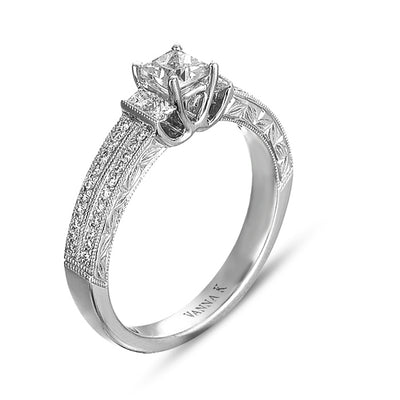 Hand Engraved Perfect Profile Diamond Ring Style 18RO7614DCZ