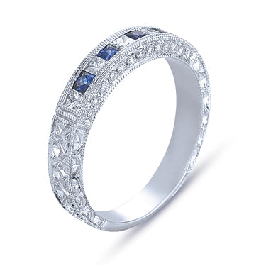 Hand Engraved Perfect Profile Diamond Ring Style 18BND0073