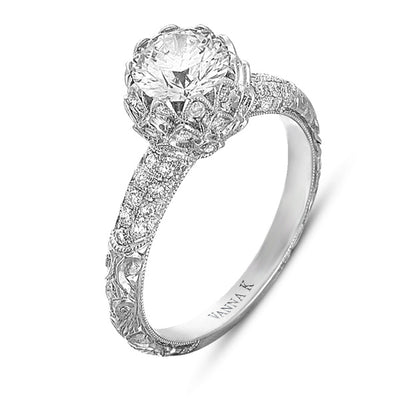 Hand Engraved Perfect Profile Diamond Ring Style 18RGL00311DCZ