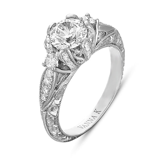 Hand Engraved Perfect Profile Diamond Ring Style 18RGL00324DCZ