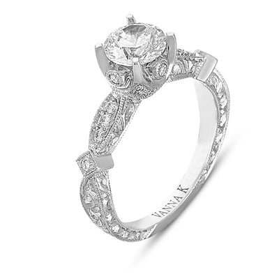 Hand Engraved Perfect Profile Diamond Ring Style 18RGL00358DCZ