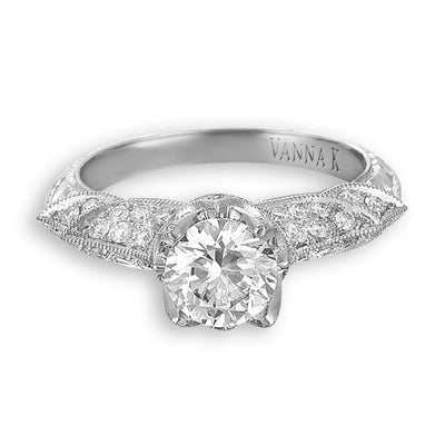 Hand Engraved Perfect Profile Diamond Ring Style 18RGL00373DCZ