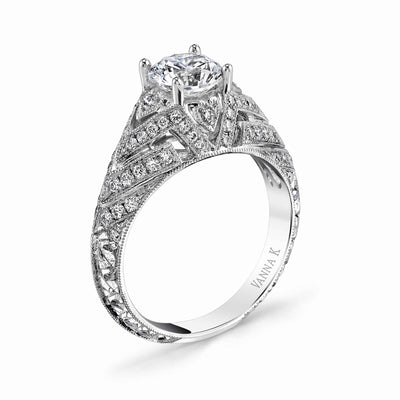 Hand Engraved Perfect Profile Diamond Ring Style 18RGL00376DCZ