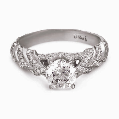 Hand Engraved Perfect Profile Diamond Ring Style 18RGL00382DCZ