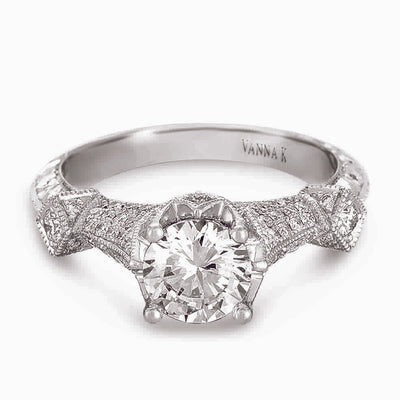 Hand Engraved Perfect Profile Diamond Ring Style 18RGL00383DCZ
