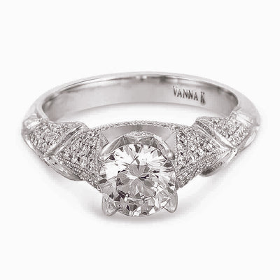 Hand Engraved Perfect Profile Diamond Ring Style 18RGL00385DCZ