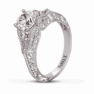Hand Engraved Perfect Profile Diamond Ring Style 18RGL00386DCZ