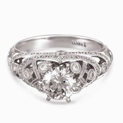 Hand Engraved Perfect Profile Diamond Ring Style 18RGL00389DCZ