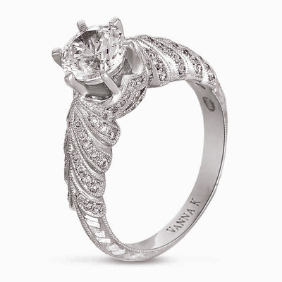 Hand Engraved Perfect Profile Diamond Ring Style 18RGL00391DCZ