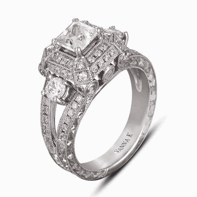 Hand Engraved Perfect Profile Diamond Ring Style 18RGL00170DCZ